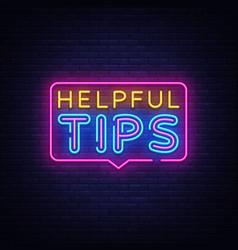 Helpful tips neon text helpful tips neon vector