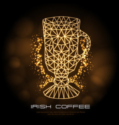 hipster polygonal cocktail irish coffee neon sign vector image