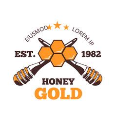 honeycomb emblem honey harvest autumn vector image