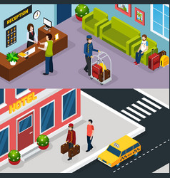 Hotel service isometric banner set vector