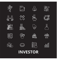 investor editable line icons set on black vector image