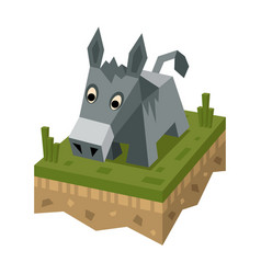 Isometric flat donkey on ground tile vector