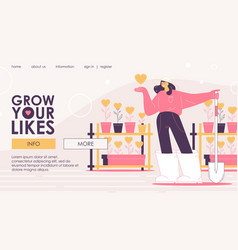 Landing page for girl who grows likes and hearts vector