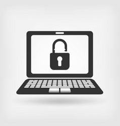 laptop screen with unlocked padlock vector image