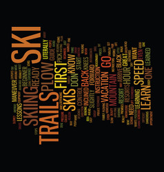 Learn how to ski text background word cloud vector