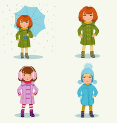 little girl in warm clothes vector image