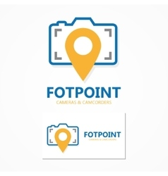 logo combination of a point and camera vector image