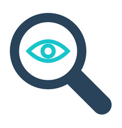 Magnifying glass icon with research sign vector