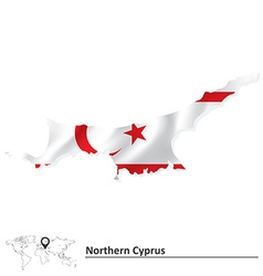 Map of Northern Cyprus with flag vector image vector image