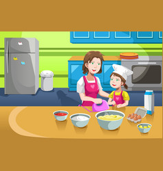 Mother daughter baking vector
