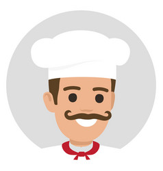 moustached smiling chief-cooker avatar profile vector image