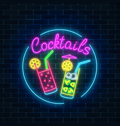 Neon cocktails bar sign in circle frame on dark vector