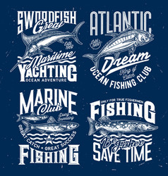 ocean fishing yachting club t-shirt print vector image