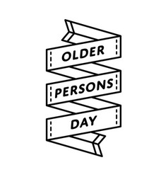 older persons day isolated greeting emblem vector image