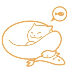Outline sleeping cat with fish vector