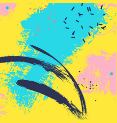 paint blue yellow brush stroke fashion neon blue vector image