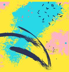 Paint blue yellow brush stroke fashion neon blue vector