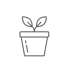 Plant pot line outline icon vector
