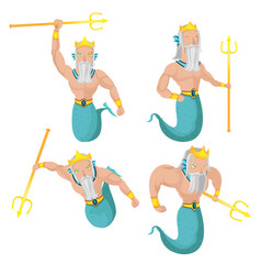 poseidon sea god character set vector image
