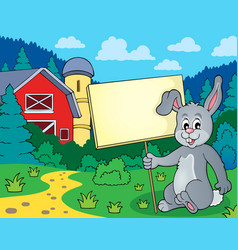 Rabbit with sign theme image 2 vector