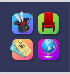 realistic detailed 3d mobile application icons set vector image