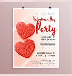 red glitter hearts flyer design for valentines vector image