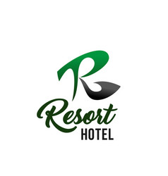 resort hotel business card with r letter icon vector image