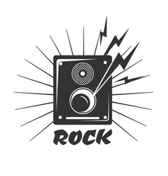 Rock music loud speaker logo in black and white vector