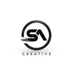 Sa brush letter logo design creative brushed vector