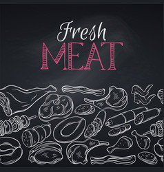Seamless border gastronomic meat vector