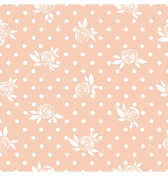 Seamless floral pattern roses on the polka dot vector