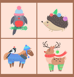 set icons with animals on vector image