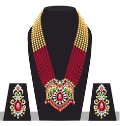 set indian peacock wedding necklace and vector image