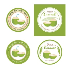 Set of fresh young coconut badge label vector image