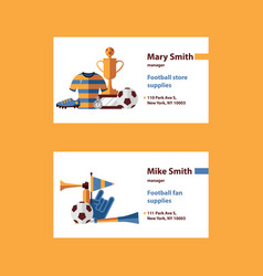 set with football business cards template vector image