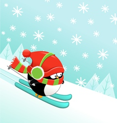 Skiing penguin vector