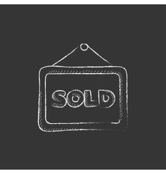 Sold placard Drawn in chalk icon vector