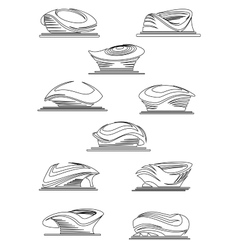 Sports stadium and arena thin line icons vector image