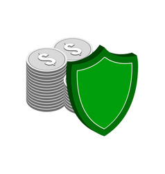 Stack of silver coins with shield finance vector