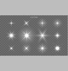 star shines and light glow sparks bright flare vector image