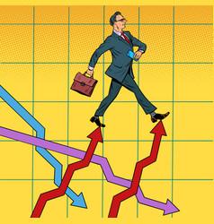 successful businessman walking forward on growth vector image