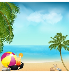 summer beach background with palms and ball vector image