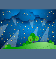 Surreal landscape by night with spotlights vector