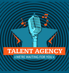 Talent agency logo emblem with star and vector