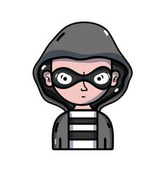 Thief criminal with mask and coat hood vector