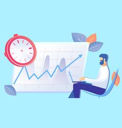 Time management efficiency rise flat vector