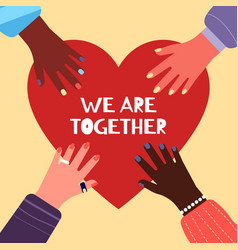 together concept charity multicultural vector image