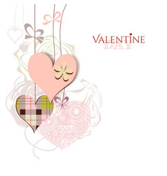 Valentine card cute hanging hearts vector
