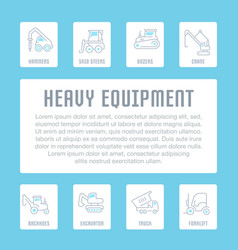 Website banner and landing page heavy equipment vector