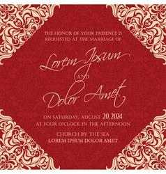 Wedding invitation red vector